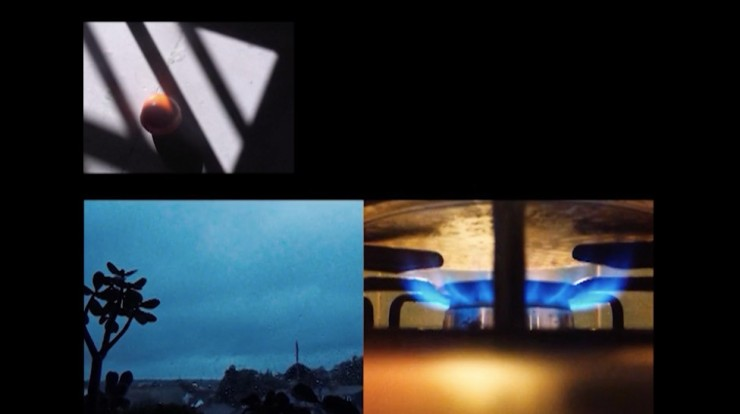 Film still from Custard Is This (Custard at Dawn) by Emma Lindsay. Three images organised in an 'L' shape. The first image is of an egg inside an egg cup with diagonal strips of sunlight. The second image is of a moody, grey sky with a plant in the foreground and the third image is of the bottom of a pan on a gas oven hob.