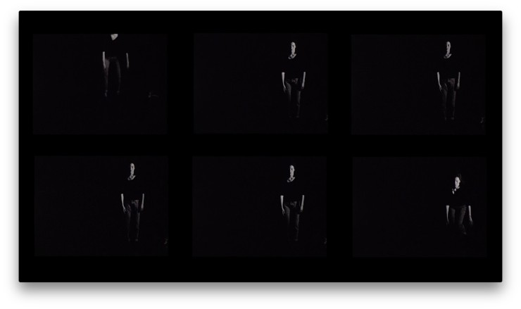 Film still from Falling by Mary Trunk. Six black and white images of person standing with hands by their sides.