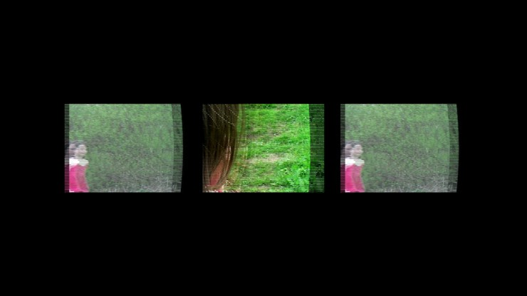 Film still from That's how I remember her by Naomi Midgelow. Three blurred images horizontally in line with each other. The first and third image is a young girl wearing a red outfit in front of some trees. The second image is a close up of the back of the girl's head looking towards the trees.
